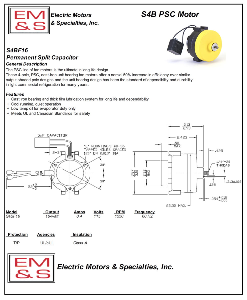 EM&S - 2-16 Watt PSC Motors